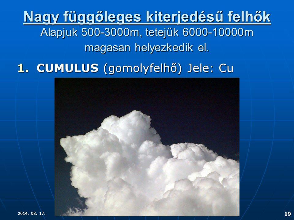 Nagy függőleges kiterjedésű felhők Alapjuk 500-3000m, tetejük 6000-10000m magasan helyezkedik el.