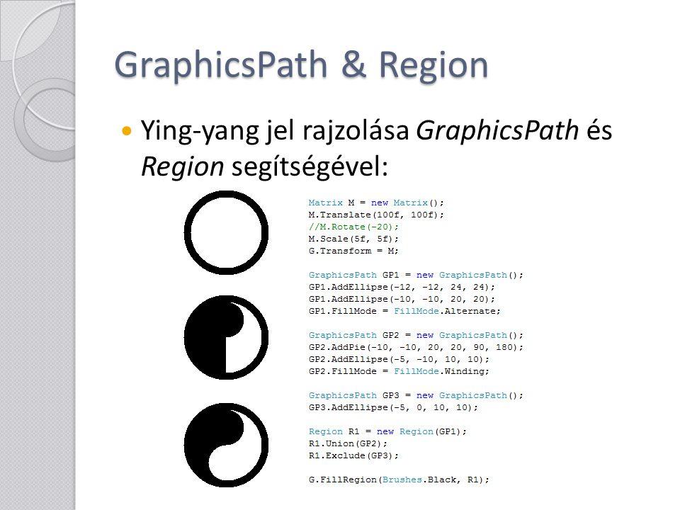 GraphicsPath & Region Ying-yang jel rajzolása GraphicsPath és Region segítségével: