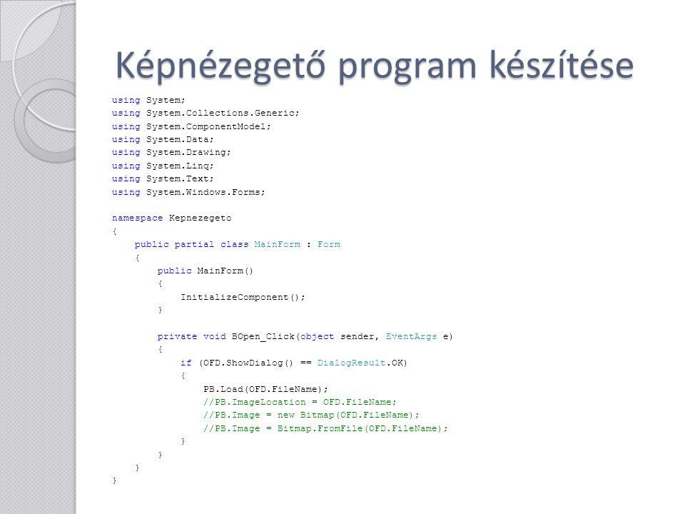 Képnézegető program készítése