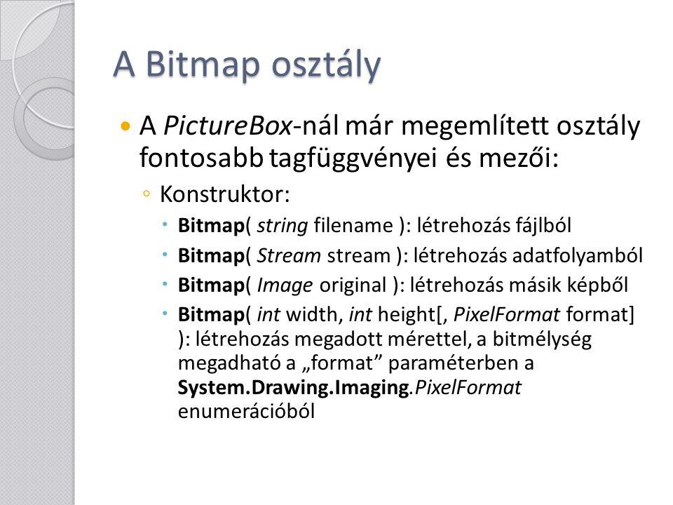 A Bitmap osztály A PictureBox-nál már megemlített osztály fontosabb tagfüggvényei és mezői: Konstruktor: