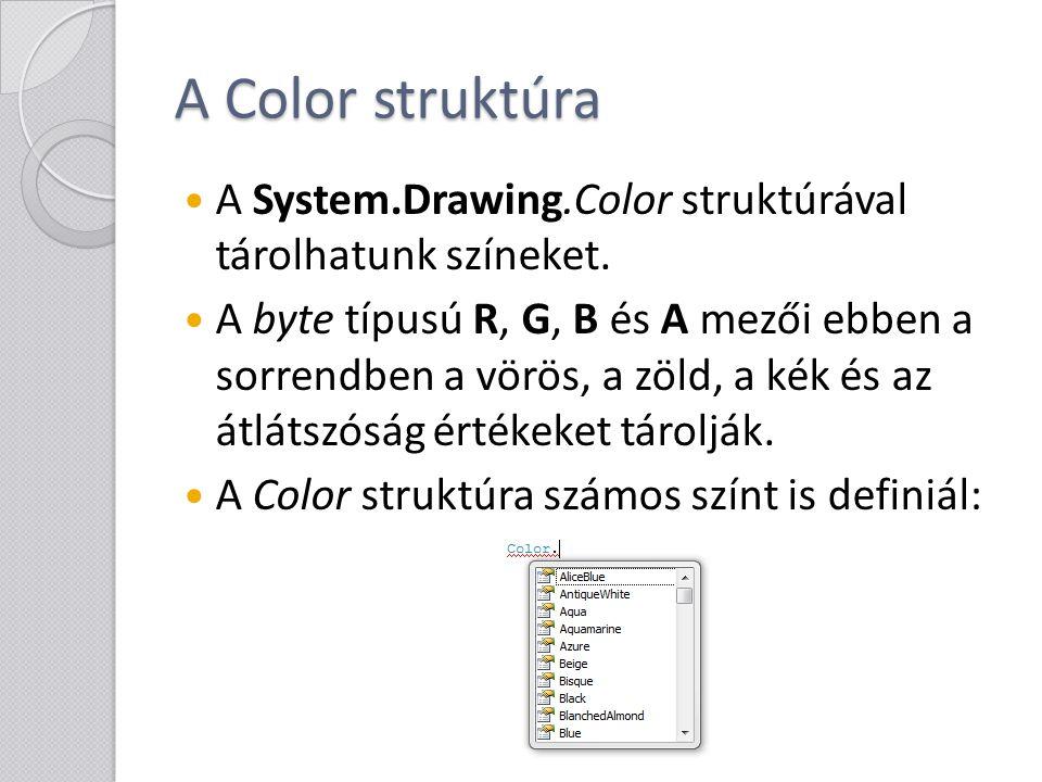 A Color struktúra A System.Drawing.Color struktúrával tárolhatunk színeket.