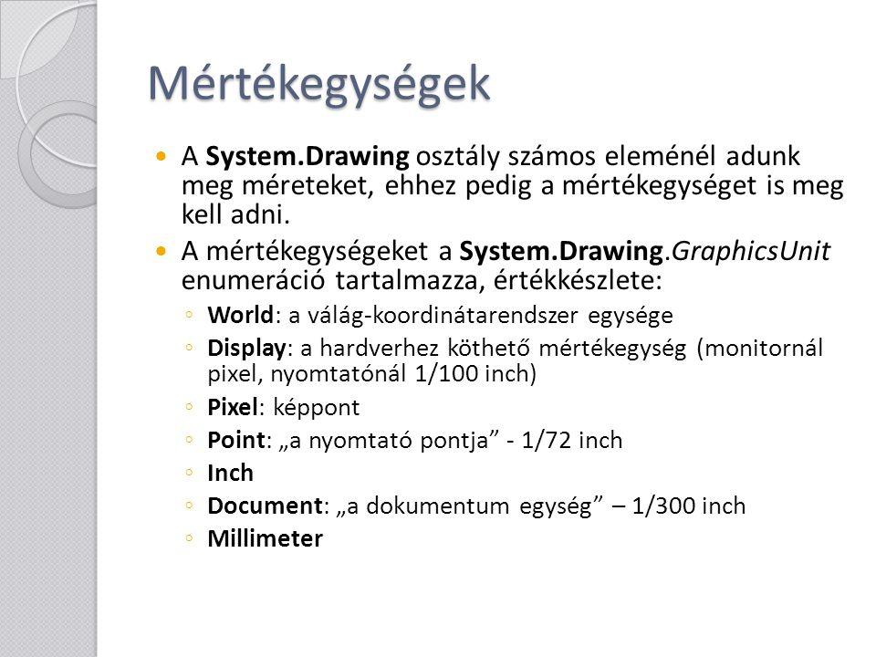 Mértékegységek A System.Drawing osztály számos eleménél adunk meg méreteket, ehhez pedig a mértékegységet is meg kell adni.