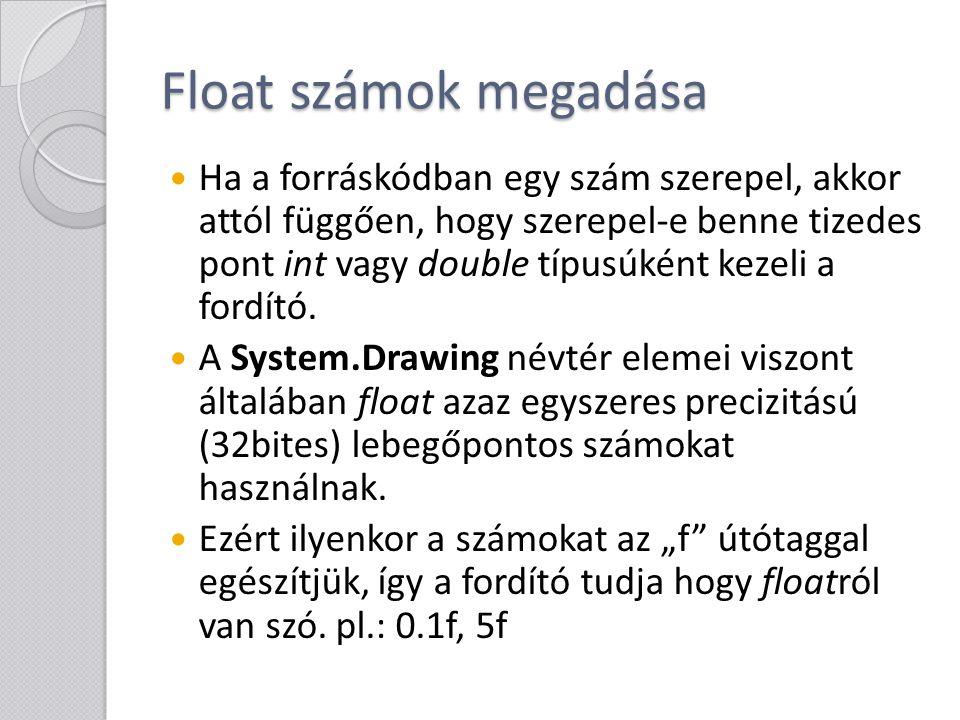 Float számok megadása