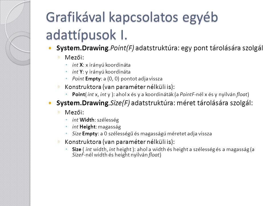 Grafikával kapcsolatos egyéb adattípusok I.