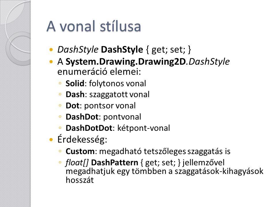 A vonal stílusa DashStyle DashStyle { get; set; }