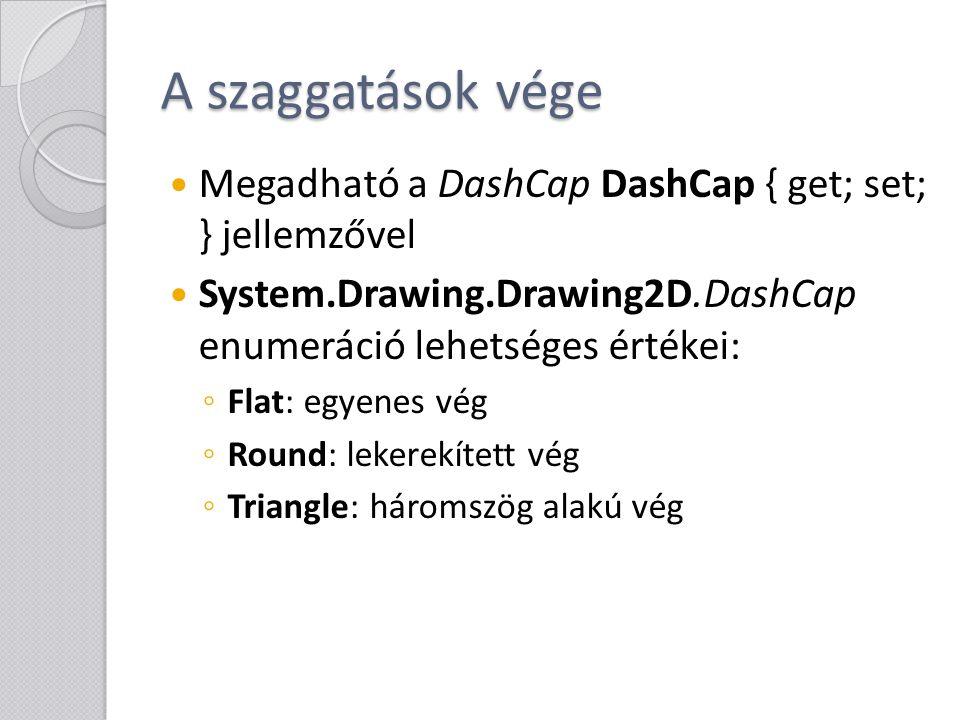 A szaggatások vége Megadható a DashCap DashCap { get; set; } jellemzővel. System.Drawing.Drawing2D.DashCap enumeráció lehetséges értékei: