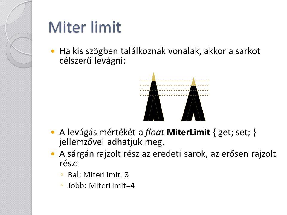 Miter limit Ha kis szögben találkoznak vonalak, akkor a sarkot célszerű levágni: