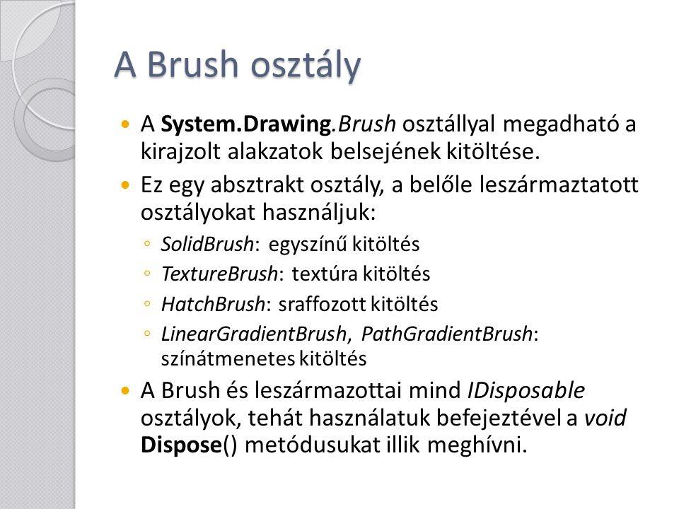 A Brush osztály A System.Drawing.Brush osztállyal megadható a kirajzolt alakzatok belsejének kitöltése.