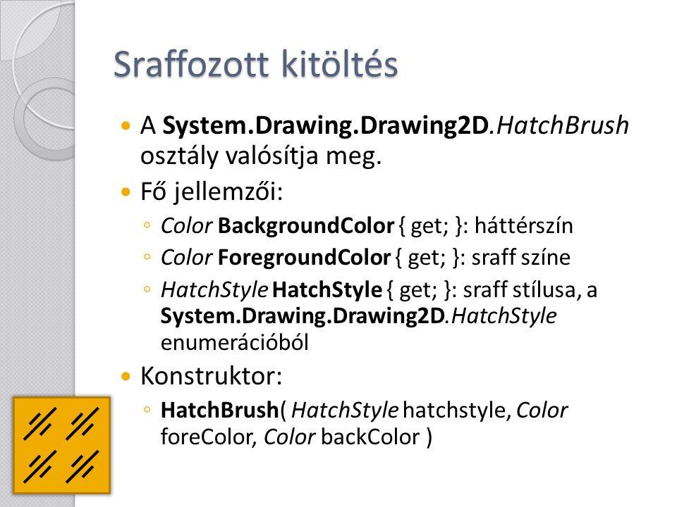 Sraffozott kitöltés A System.Drawing.Drawing2D.HatchBrush osztály valósítja meg. Fő jellemzői: Color BackgroundColor { get; }: háttérszín.