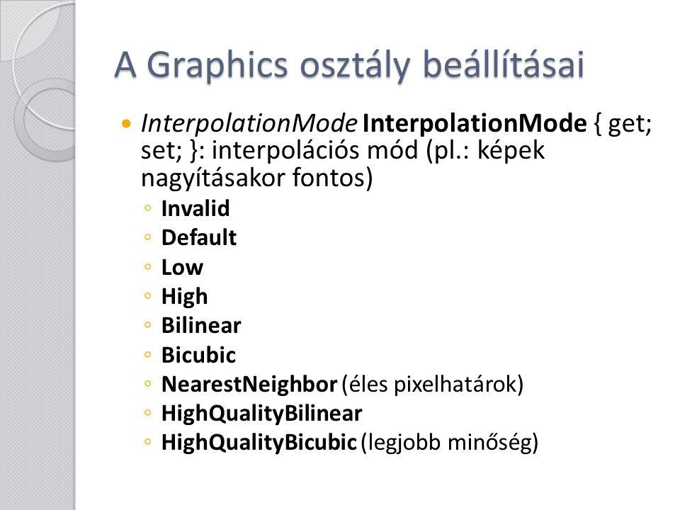 A Graphics osztály beállításai