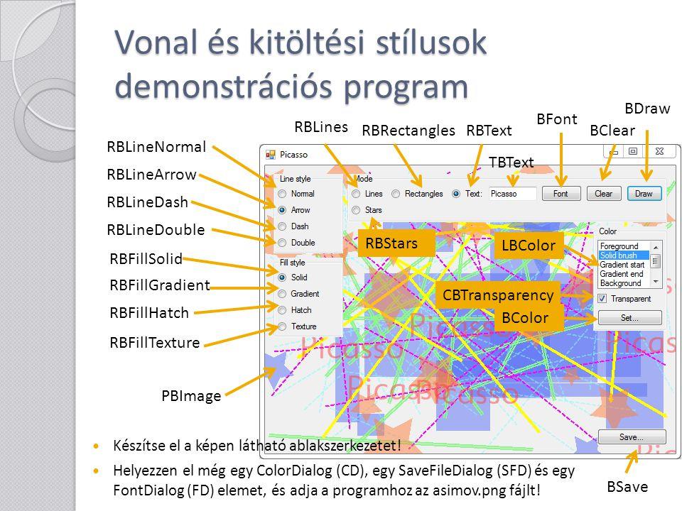 Vonal és kitöltési stílusok demonstrációs program