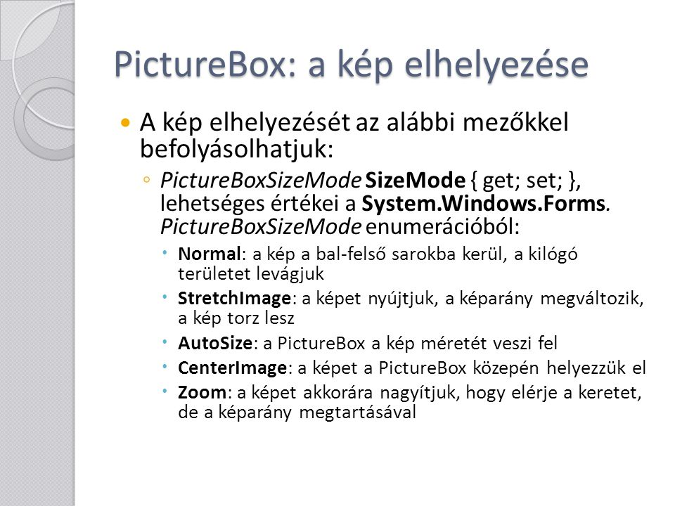 PictureBox: a kép elhelyezése
