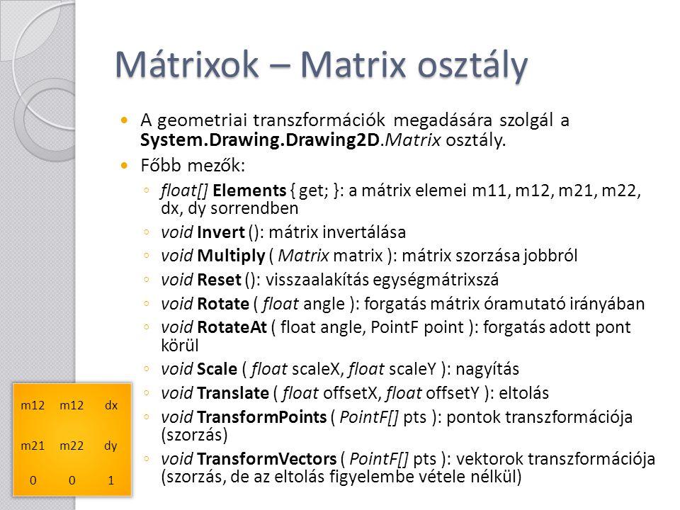 Mátrixok – Matrix osztály