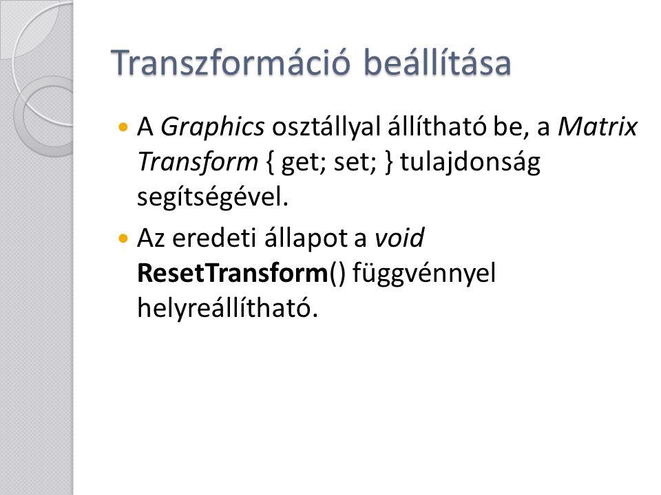 Transzformáció beállítása
