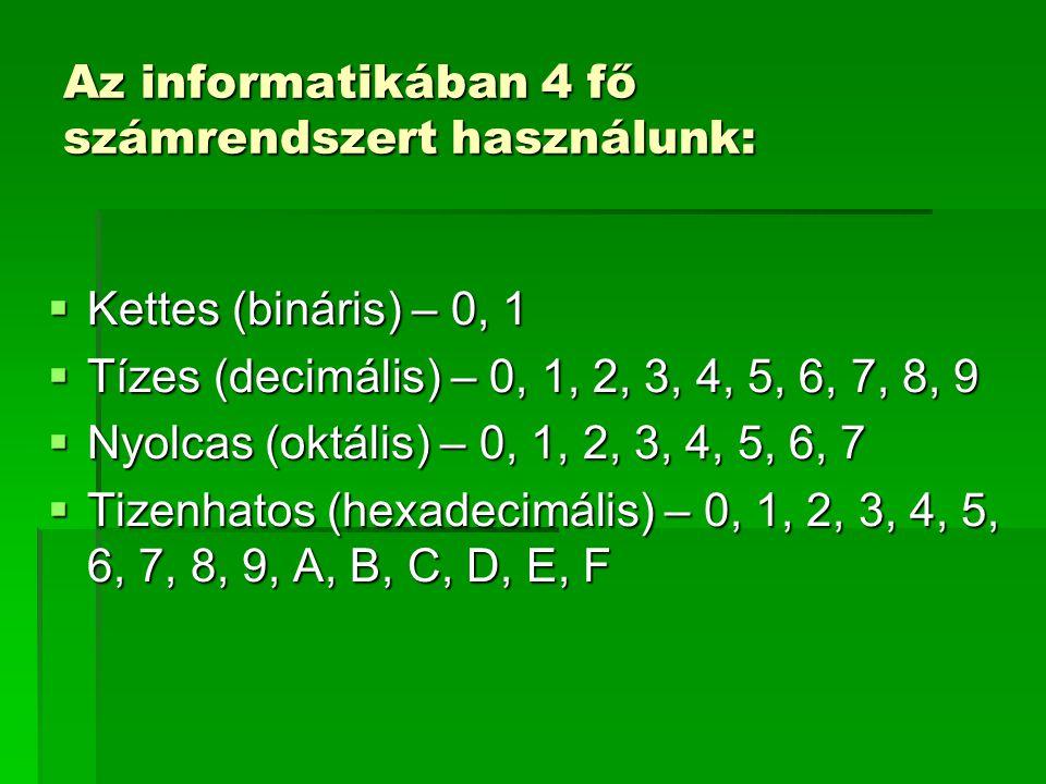 Az informatikában 4 fő számrendszert használunk: