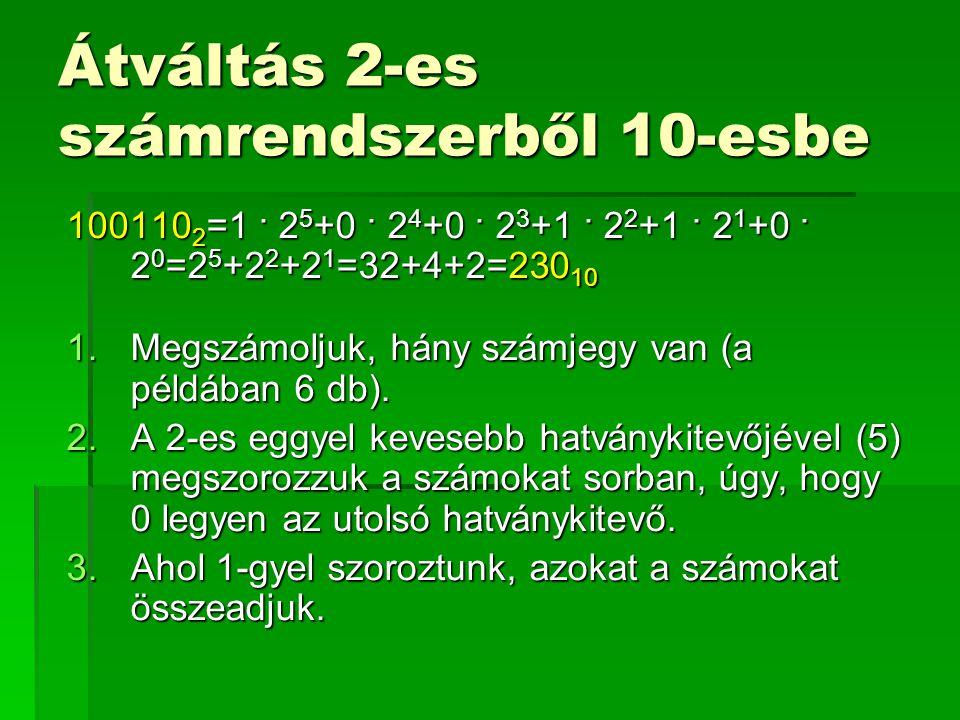 Átváltás 2-es számrendszerből 10-esbe
