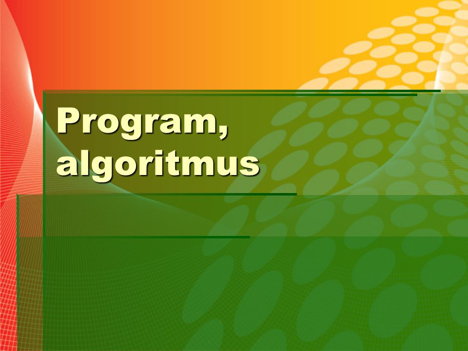 Program, algoritmus