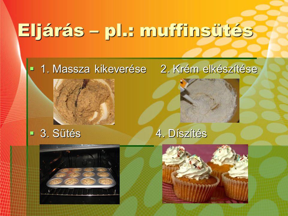 Eljárás – pl.: muffinsütés