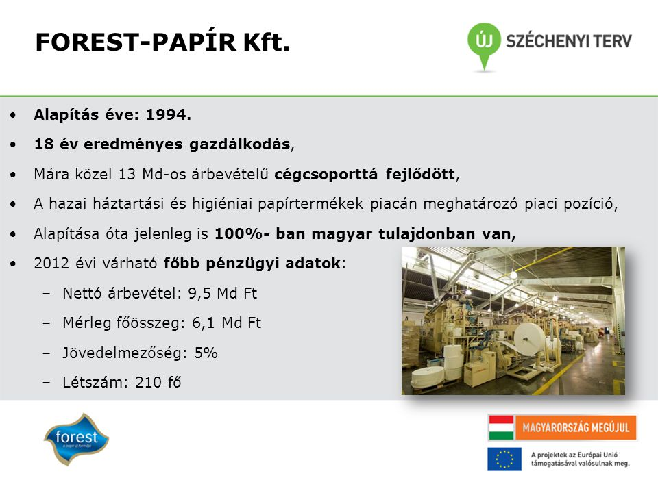 FOREST-PAPÍR Kft. Alapítás éve: 1994. 18 év eredményes gazdálkodás,
