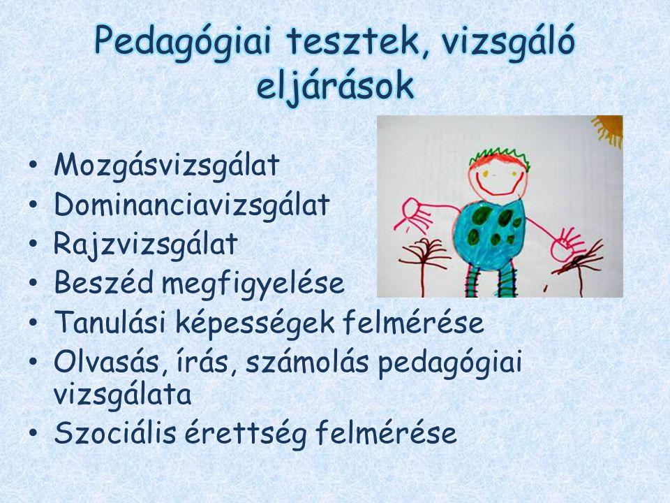 Pedagógiai tesztek, vizsgáló eljárások