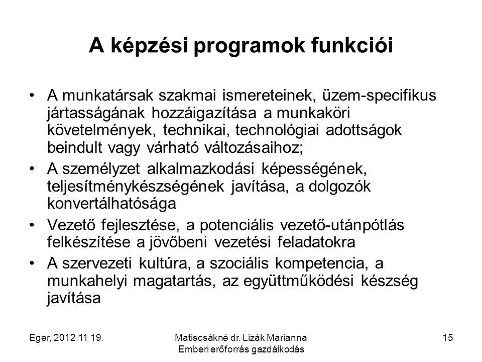 A képzési programok funkciói