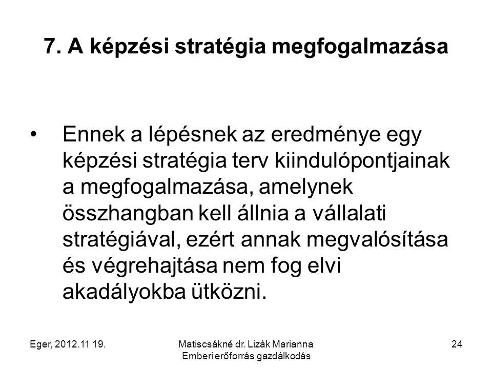 7. A képzési stratégia megfogalmazása
