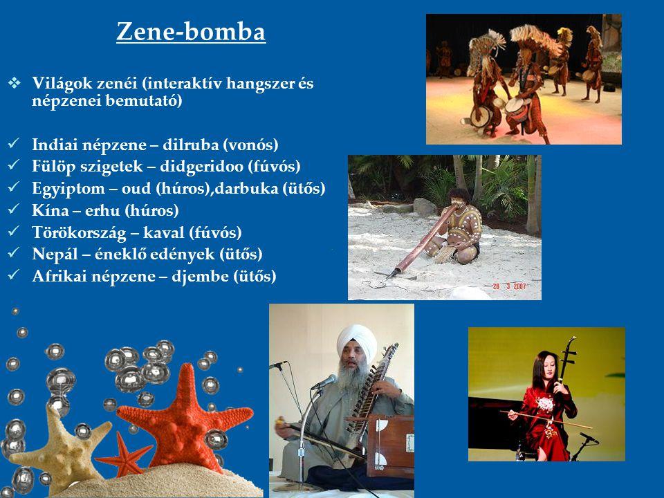 Zene-bomba Világok zenéi (interaktív hangszer és népzenei bemutató)
