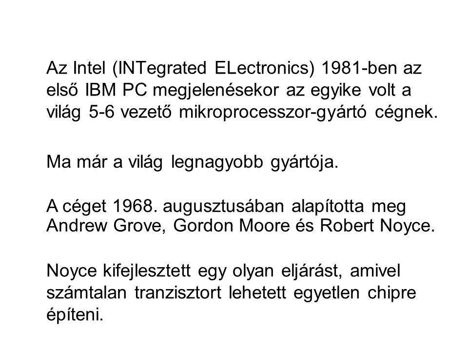 Az Intel (INTegrated ELectronics) 1981-ben az első IBM PC megjelenésekor az egyike volt a világ 5-6 vezető mikroprocesszor-gyártó cégnek.