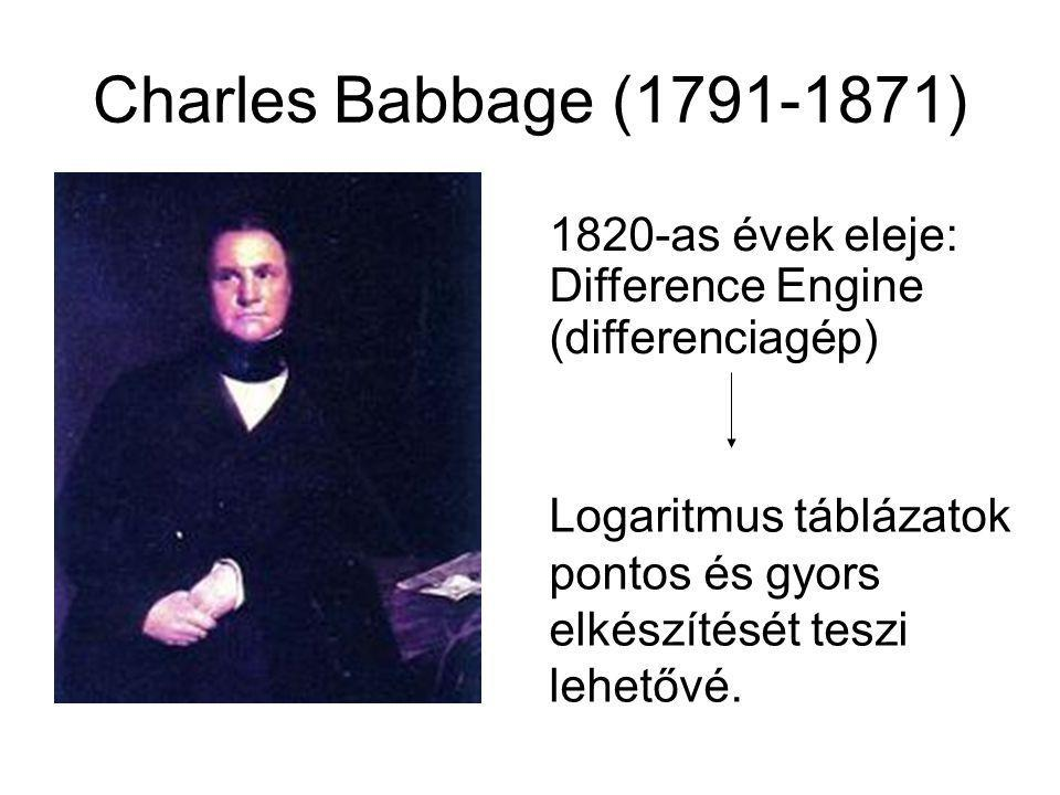 Charles Babbage (1791-1871) 1820-as évek eleje: Difference Engine (differenciagép)