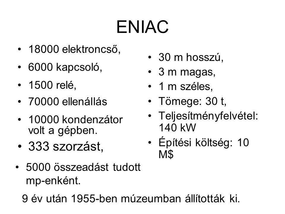 ENIAC 333 szorzást, 18000 elektroncső, 30 m hosszú, 3 m magas,