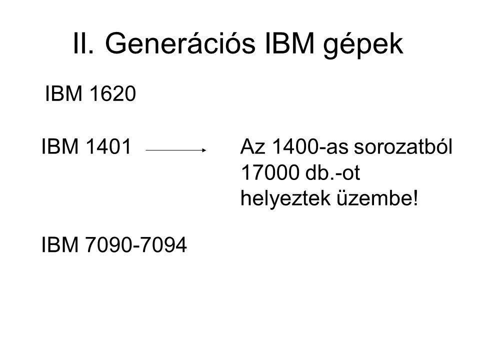 II. Generációs IBM gépek
