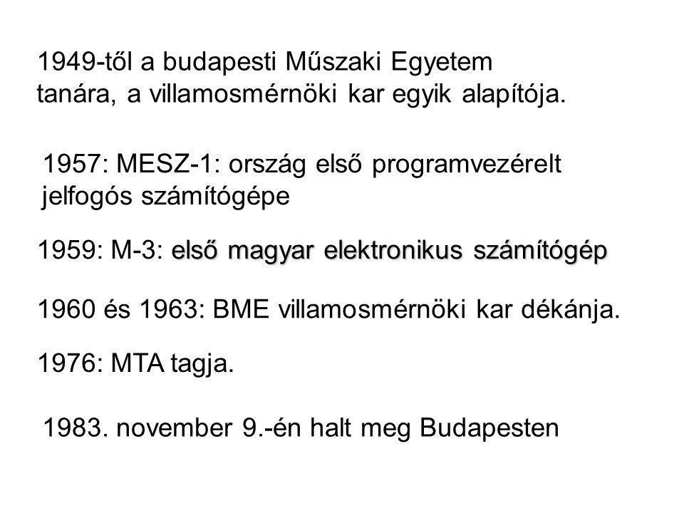 1949-től a budapesti Műszaki Egyetem tanára, a villamosmérnöki kar egyik alapítója.