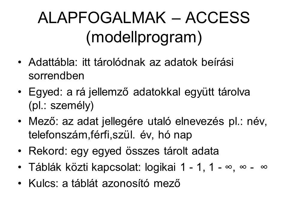 ALAPFOGALMAK – ACCESS (modellprogram)