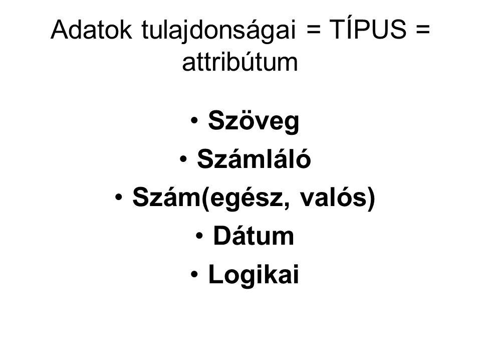 Adatok tulajdonságai = TÍPUS = attribútum
