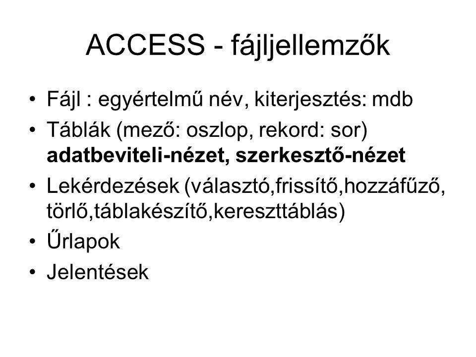 ACCESS - fájljellemzők