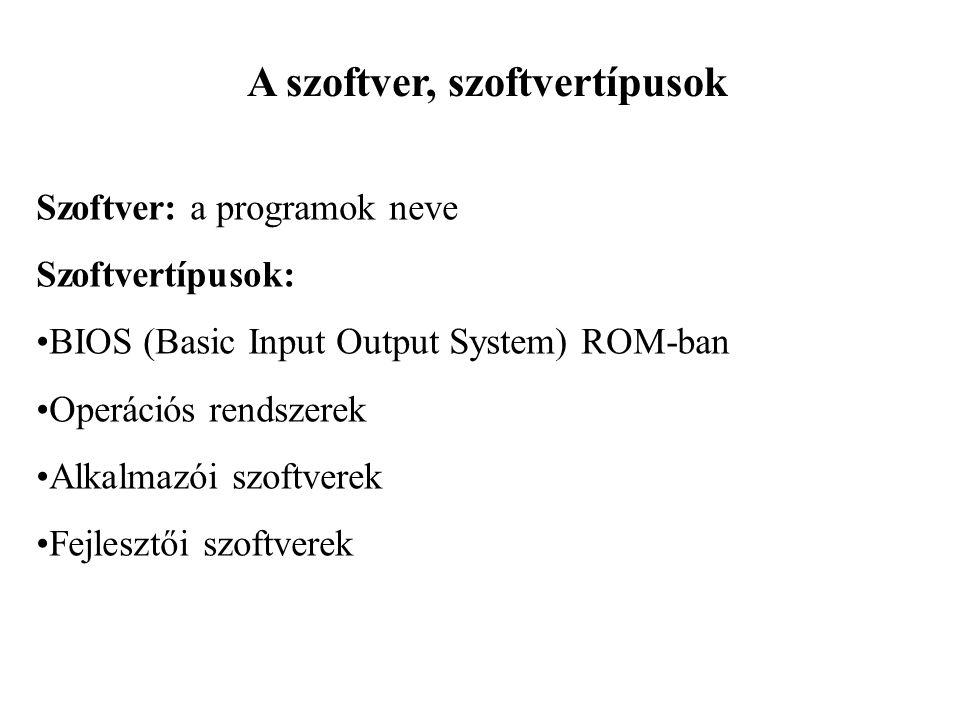 A szoftver, szoftvertípusok