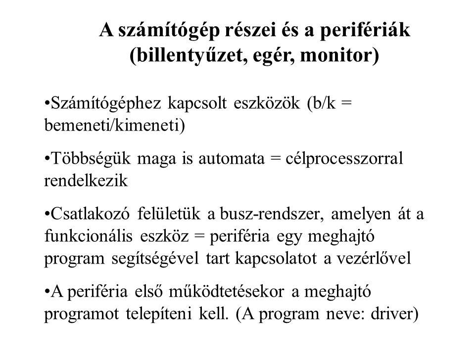 A számítógép részei és a perifériák (billentyűzet, egér, monitor)