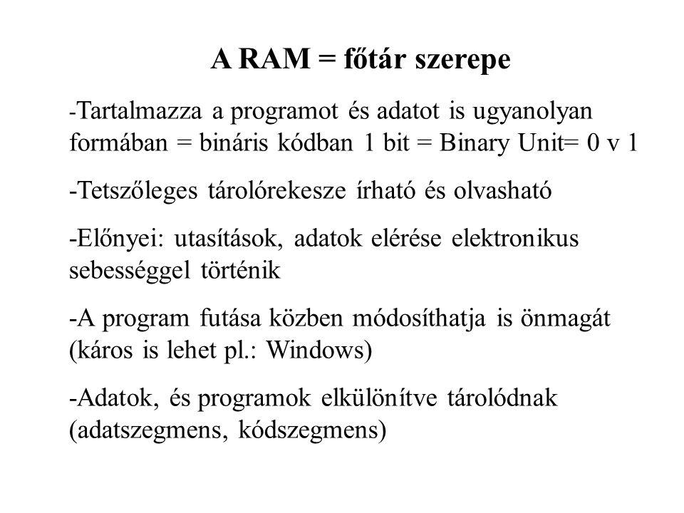 A RAM = főtár szerepe -Tetszőleges tárolórekesze írható és olvasható