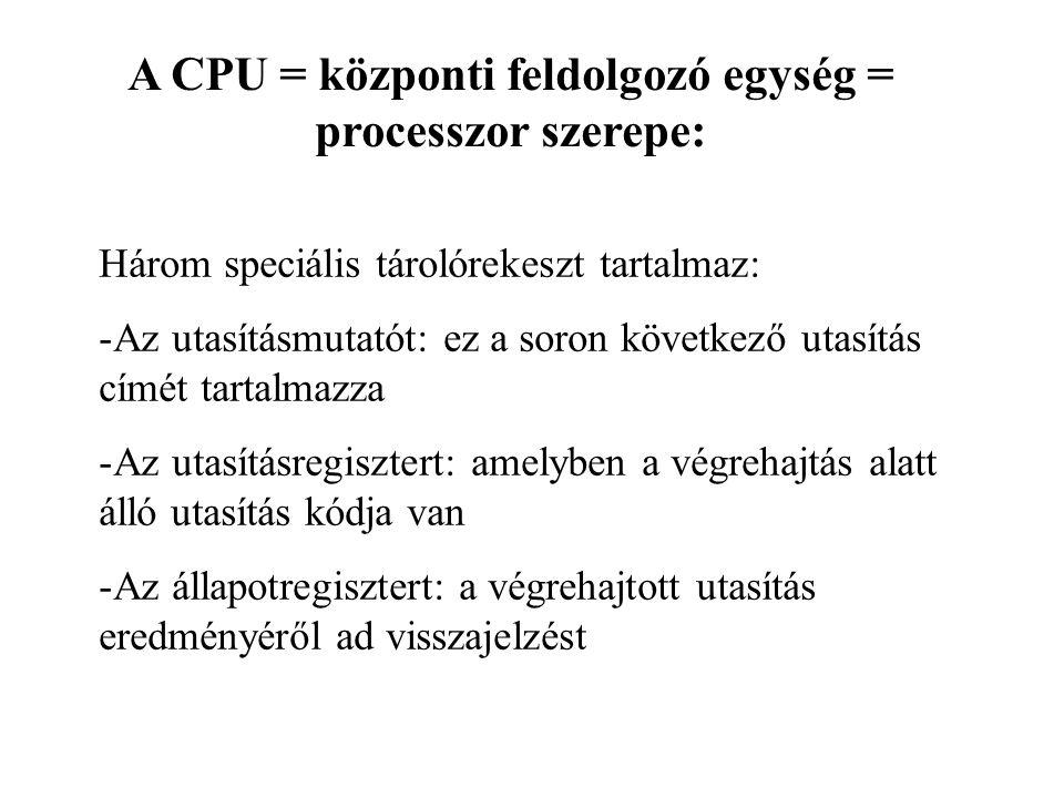 A CPU = központi feldolgozó egység = processzor szerepe: