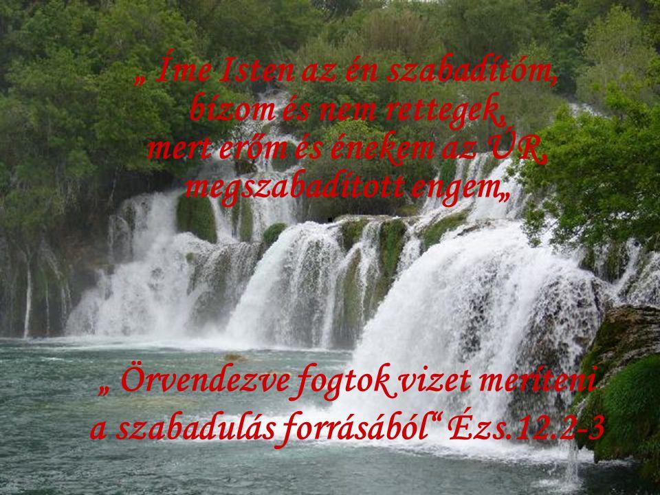 """"""" Örvendezve fogtok vizet meríteni a szabadulás forrásából Ézs.12.2-3"""