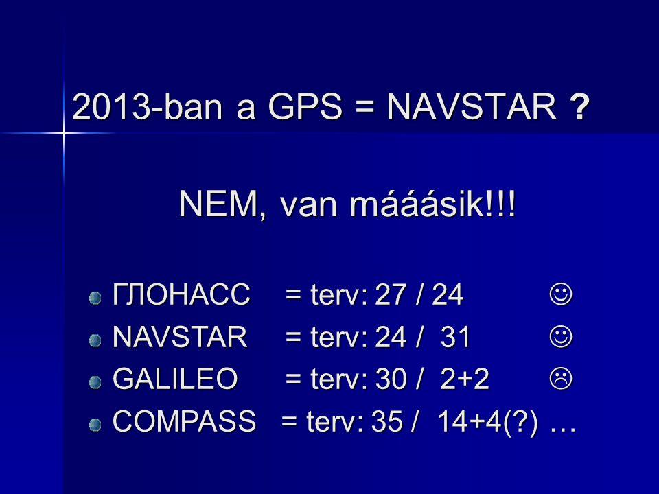 2013-ban a GPS = NAVSTAR NEM, van mááásik!!!