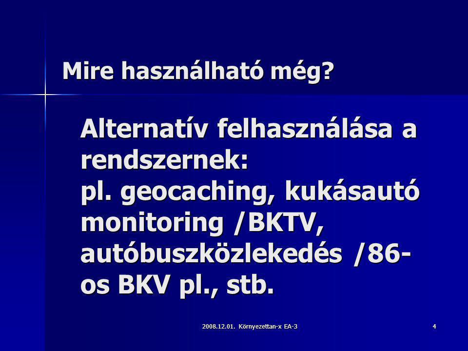 Mire használható még Alternatív felhasználása a rendszernek: pl. geocaching, kukásautó monitoring /BKTV, autóbuszközlekedés /86-os BKV pl., stb.