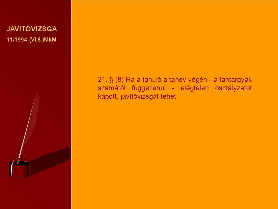 JAVITÓVIZSGA 11/1994 (VI.8.)MkM.