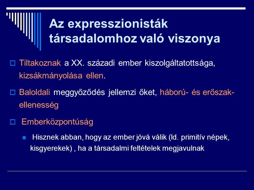 Az expresszionisták társadalomhoz való viszonya