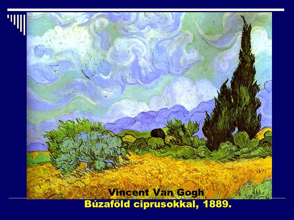 Vincent Van Gogh Búzaföld ciprusokkal, 1889.
