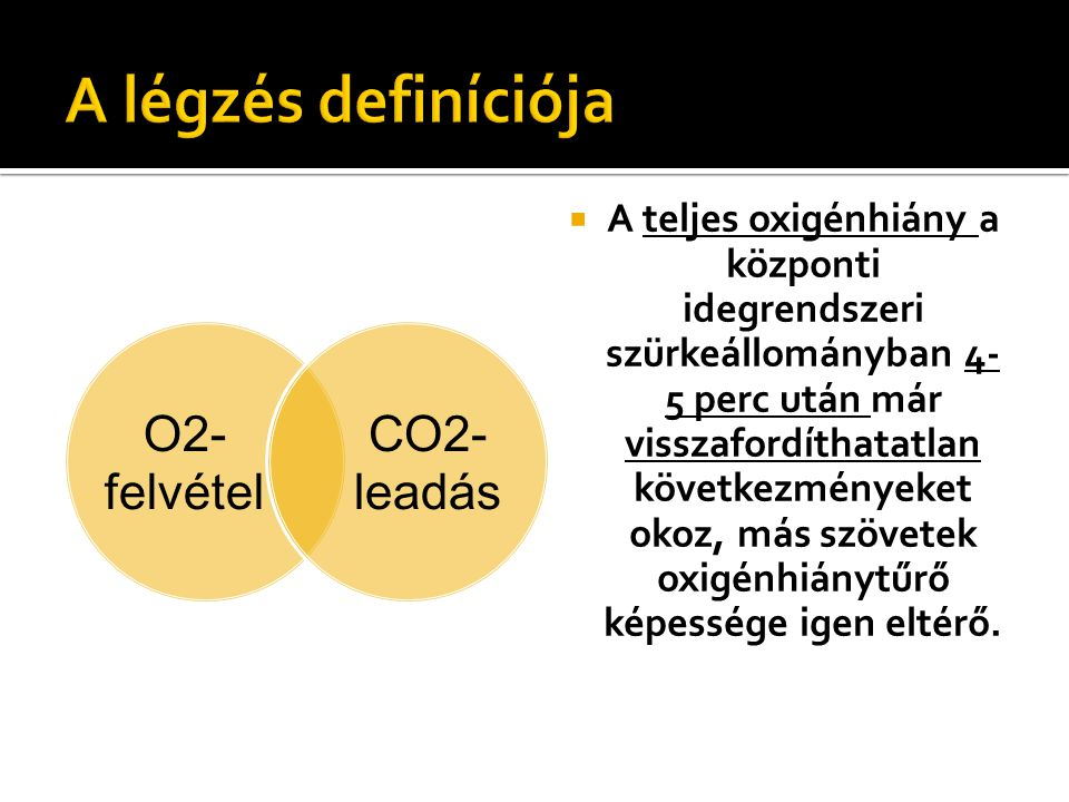 A légzés definíciója O2-felvétel. leadás. CO2-