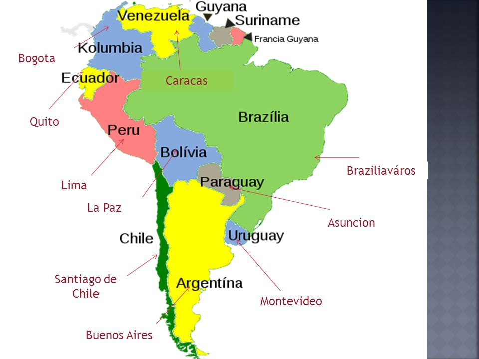 Bogota Caracas Quito Braziliaváros Lima La Paz Asuncion Santiago de Chile Montevideo Buenos Aires