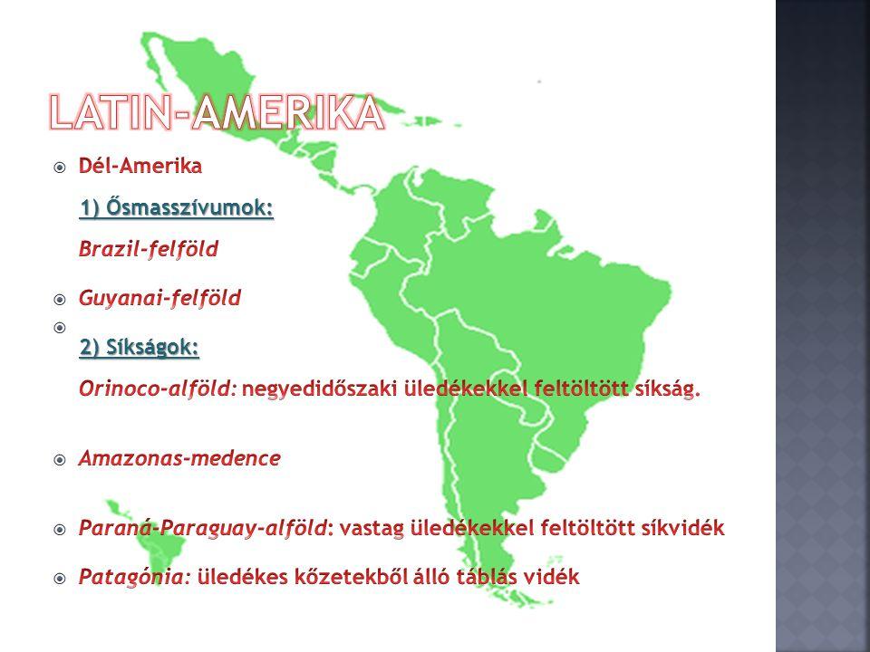 Latin-Amerika Dél-Amerika 1) Ősmasszívumok: Brazil-felföld