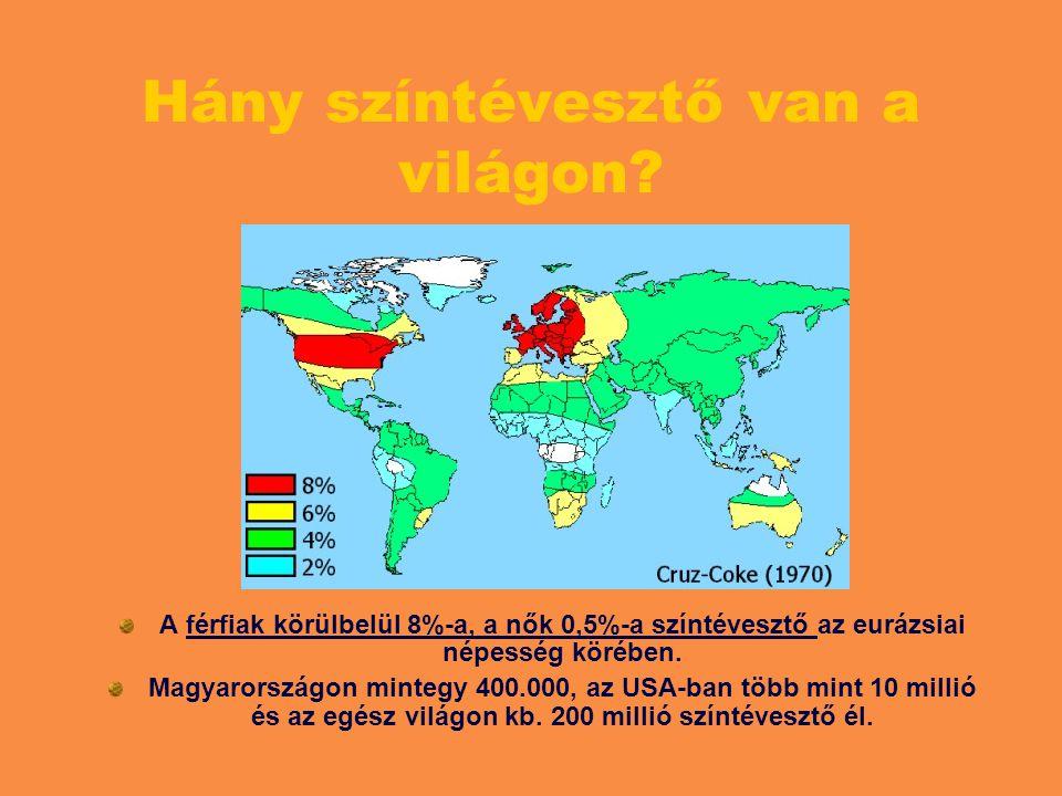 Hány színtévesztő van a világon