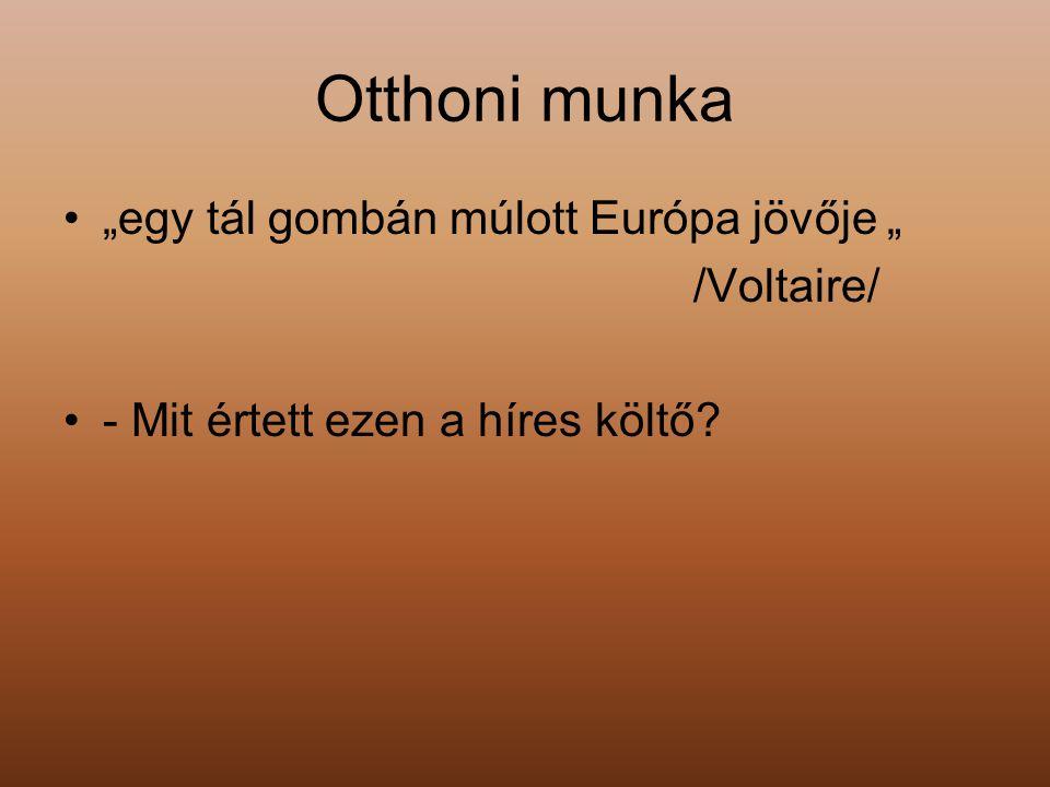 """Otthoni munka """"egy tál gombán múlott Európa jövője """" /Voltaire/"""